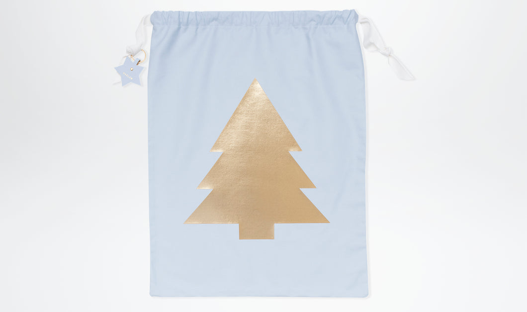 Limited Edition Santa Sack with Christmas Tree - Powder Blue & Gold