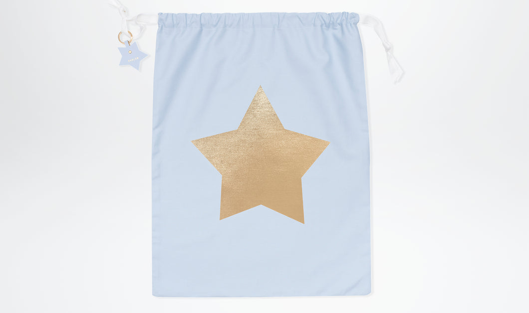 Limited Edition Santa Sack with Star - Powder Blue & Gold