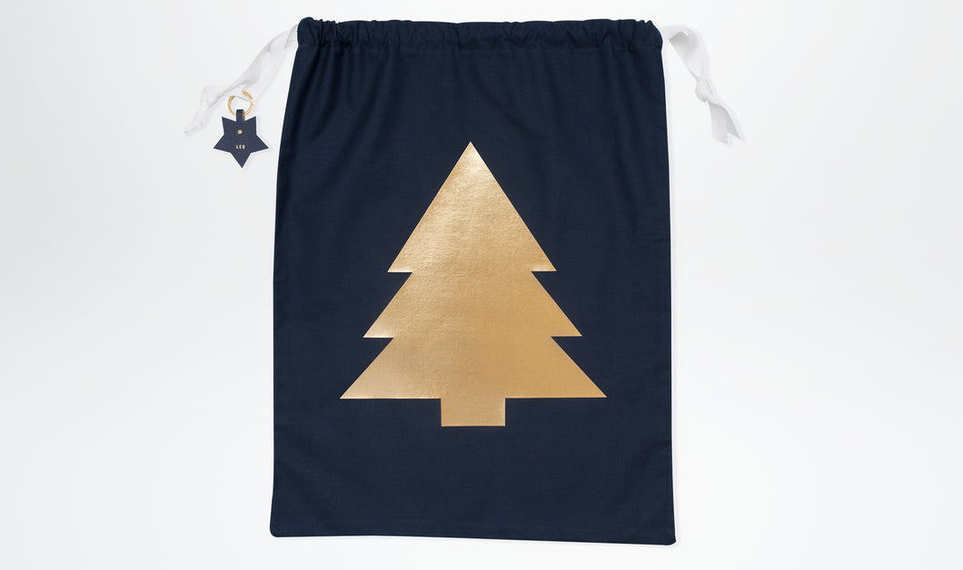 Limited Edition Santa Sack with Christmas Tree - Navy & Gold