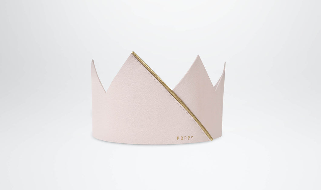 Leather Crown for Children - Blush & Gold as shown when worn