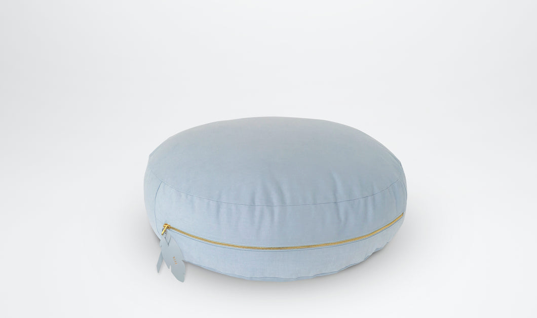 Valentine (Round) Floor Cushion with Feather Adornment - Powder Blue