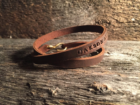 Hand Cut Leather Bracelet - Chocolate Brown