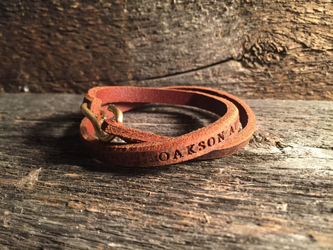 Hand Cut Leather Bracelet - Dark Brown