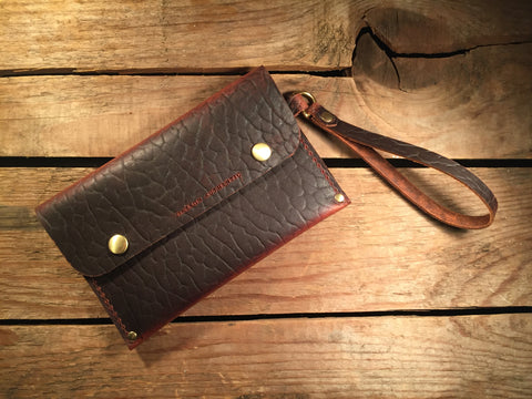 Wrist Pocket Clutch - Red Rider with Solid Brass