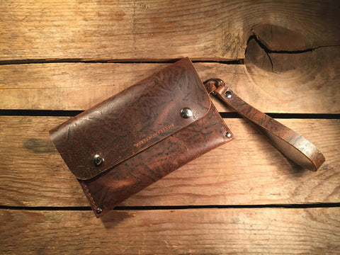 Wrist Pocket Clutch - Light Brown Character with Nickel Plated