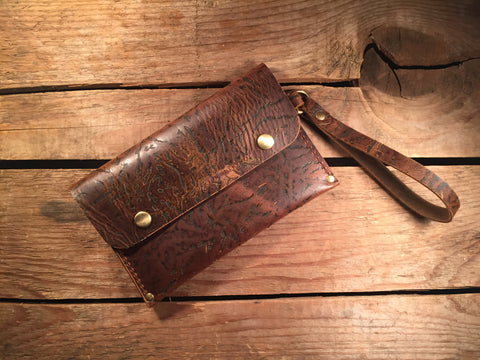 Wrist Pocket Clutch - Light Brown Character with Solid Brass