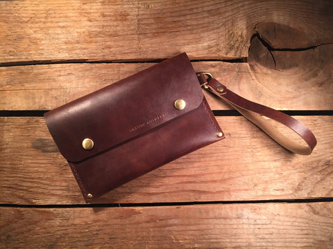 Wrist Pocket Clutch - Brown With Solid Brass