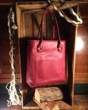 handcrafted red leather tote