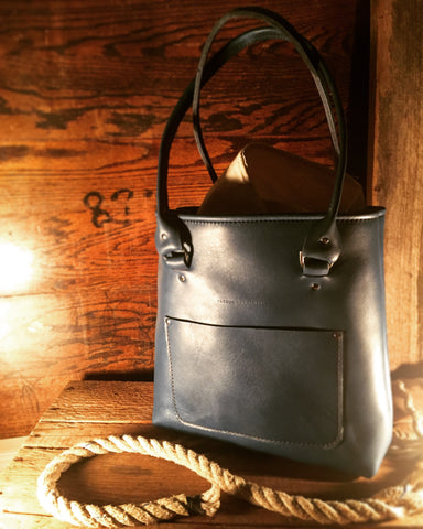 handcrafted leather blue tote