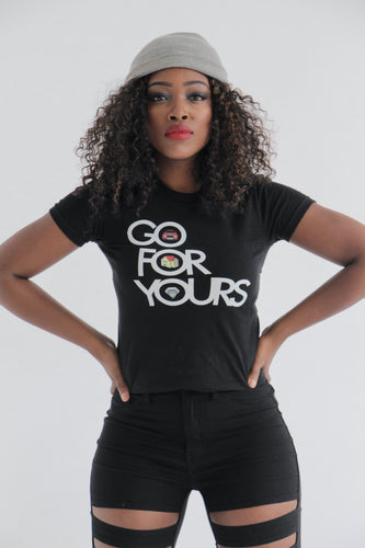Black Short Sleeve Women's Go for Yours T-shirt