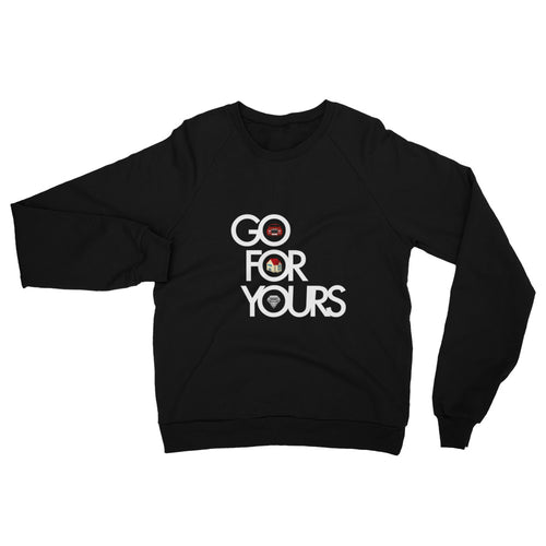 Go for Yours Unisex California Fleece Raglan Sweatshirt White Letters