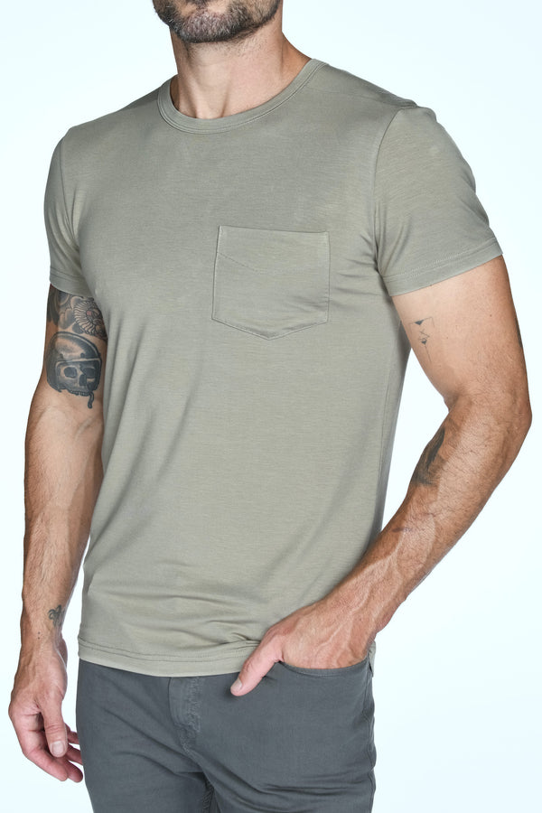 Men's Madison Modal V-Pocket Crew with Shoulder Seam