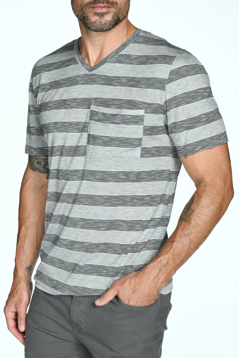 Men's Princeton Wide Pocket V-Neck Stripe Tee