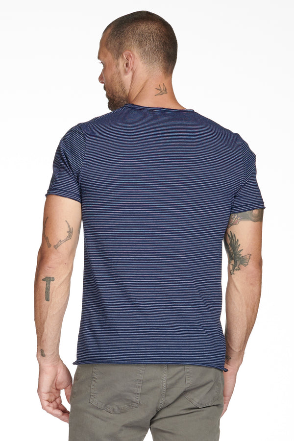 Men's Raw Edge Patch Sleeve Stripe Tee