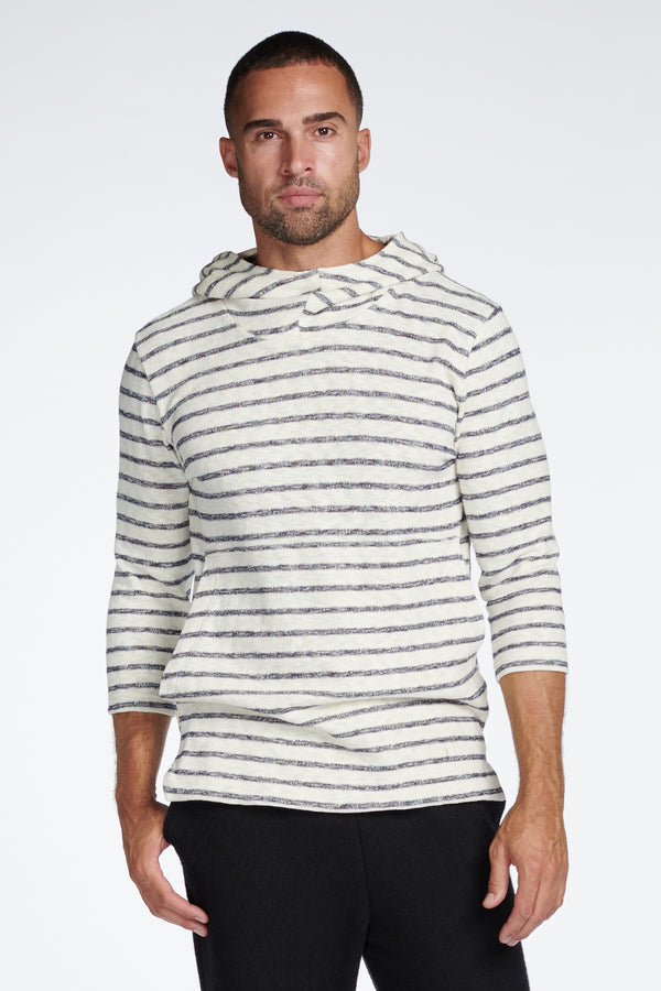 Men's Cambridge 3/4 Sleeve Cowl Neck Visor Hoodie Sweater -  Slub Jersey Navy/Cream Stripe