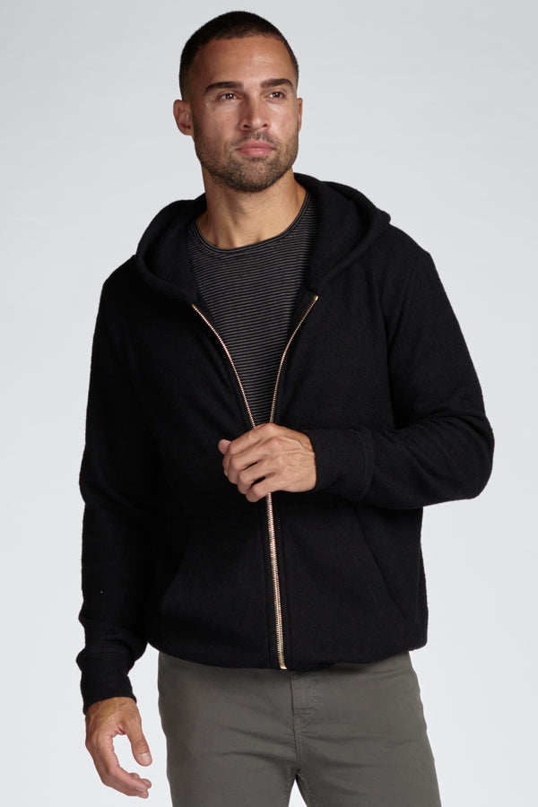 Men's Soft Knit Melange Zip Front Hoodie