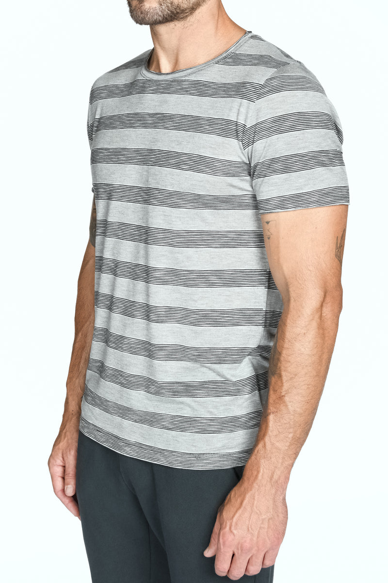Men's Brolin Raw Neck Crew Stripe Tee