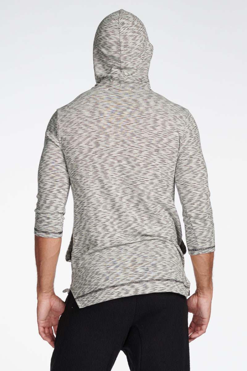 Men's Cambridge 3/4 Sleeve Cowl Neck Visor Hoodie Sweater - Variegated Ivory/Black
