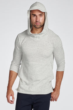 Men's Cambridge 3/4 Sleeve Cowl Neck Visor Hoodie Sweater - Light Grey Speck Stripe