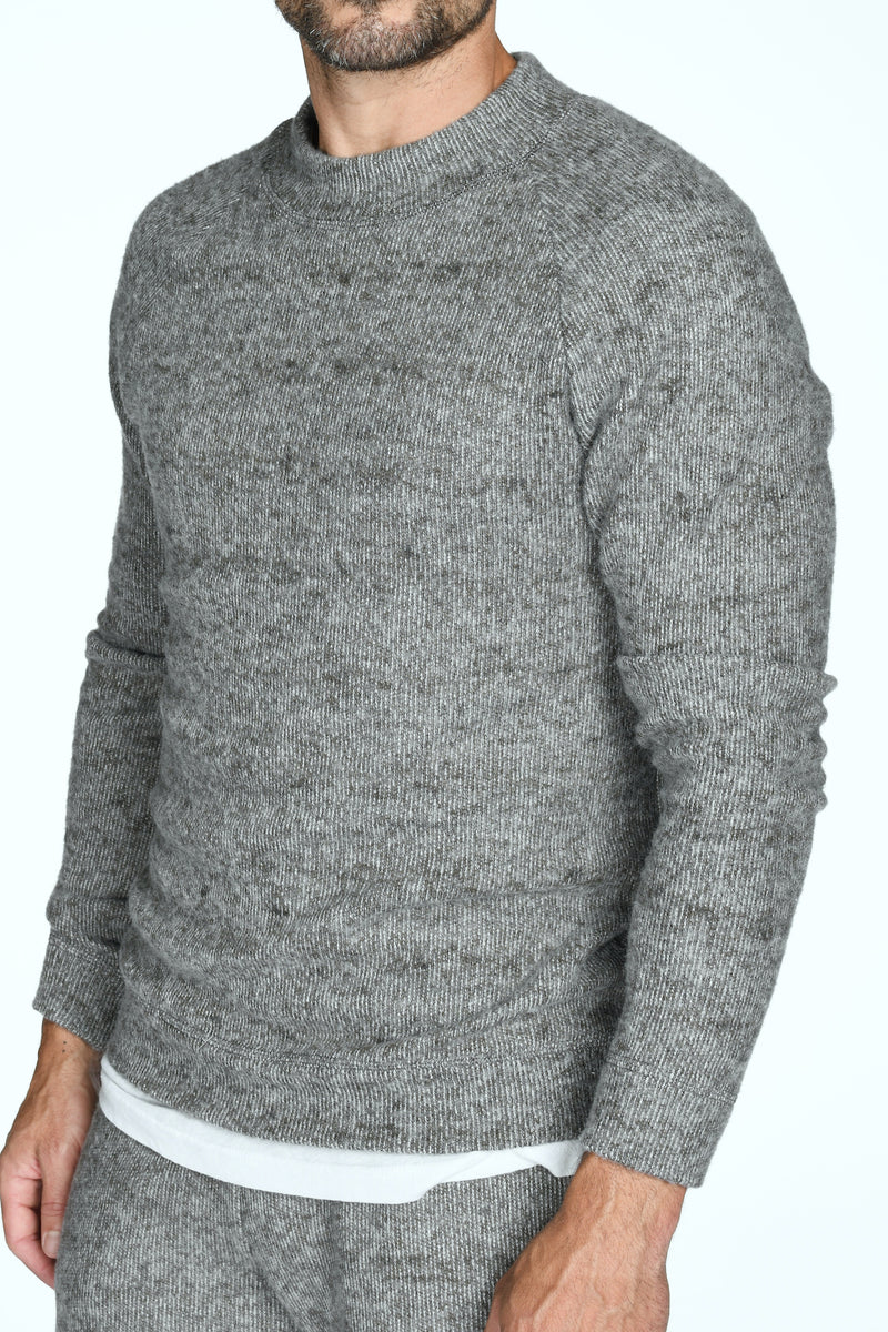 Men's Soft Knit Melange Wide Neck Pullover Sweater