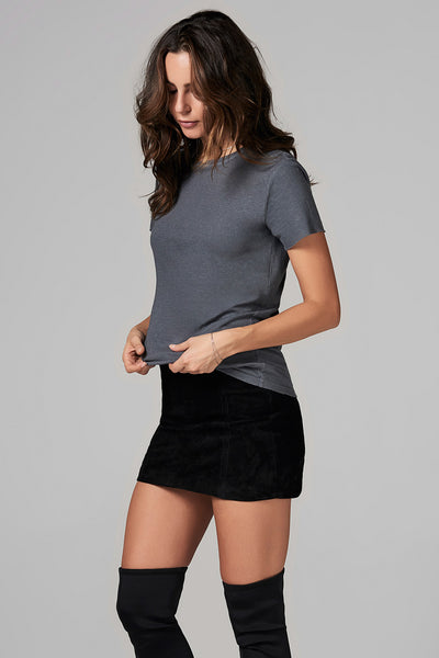 WOMEN'S LINEN BLEND CREW NECK TEE - GREY