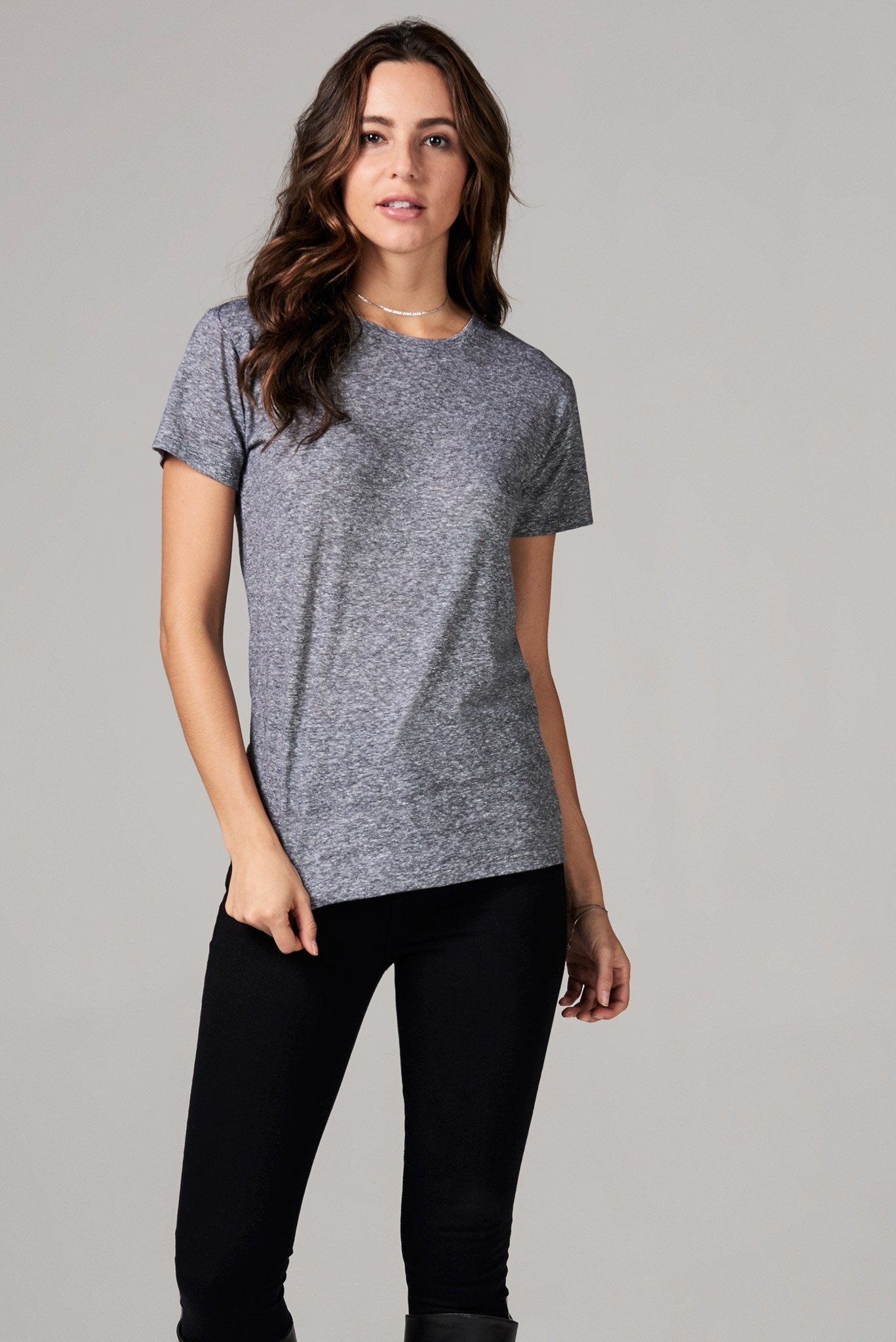 WOMEN'S CREW NECK TEE - MINI STRIPE