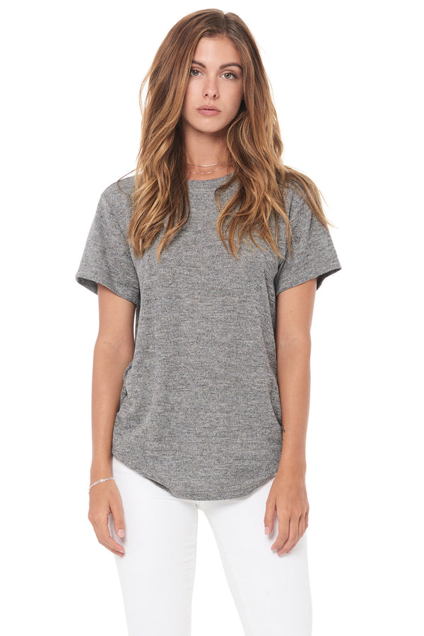 WOMEN'S NOVELTY TEXTURE CREW NECK TEE - BLACK GRAVEL
