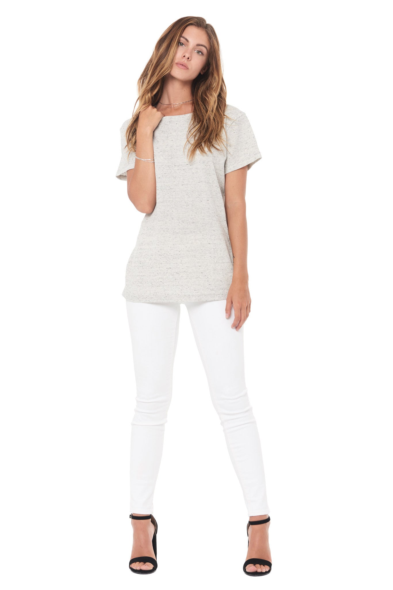 WOMEN'S NOVELTY TEXTURE CREW NECK TEE - CREAM THERMAL
