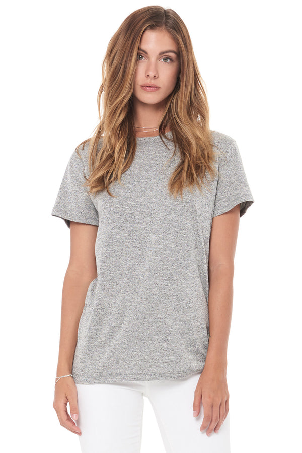 WOMEN'S NOVELTY TEXTURE CREW NECK TEE - MELANGE