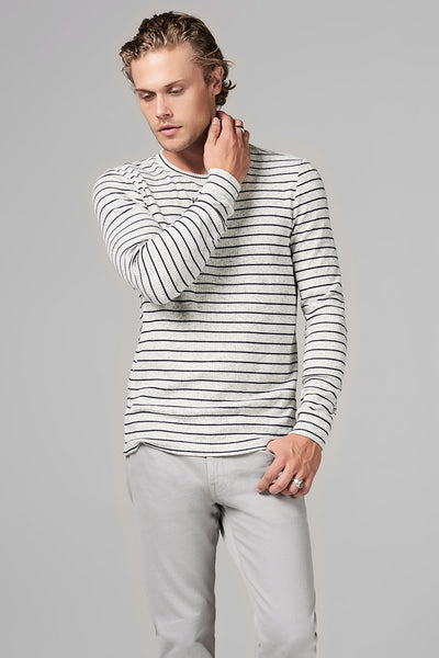 MEN'S STRIPE SWEATER PULLOVER - NAVY STRIPE