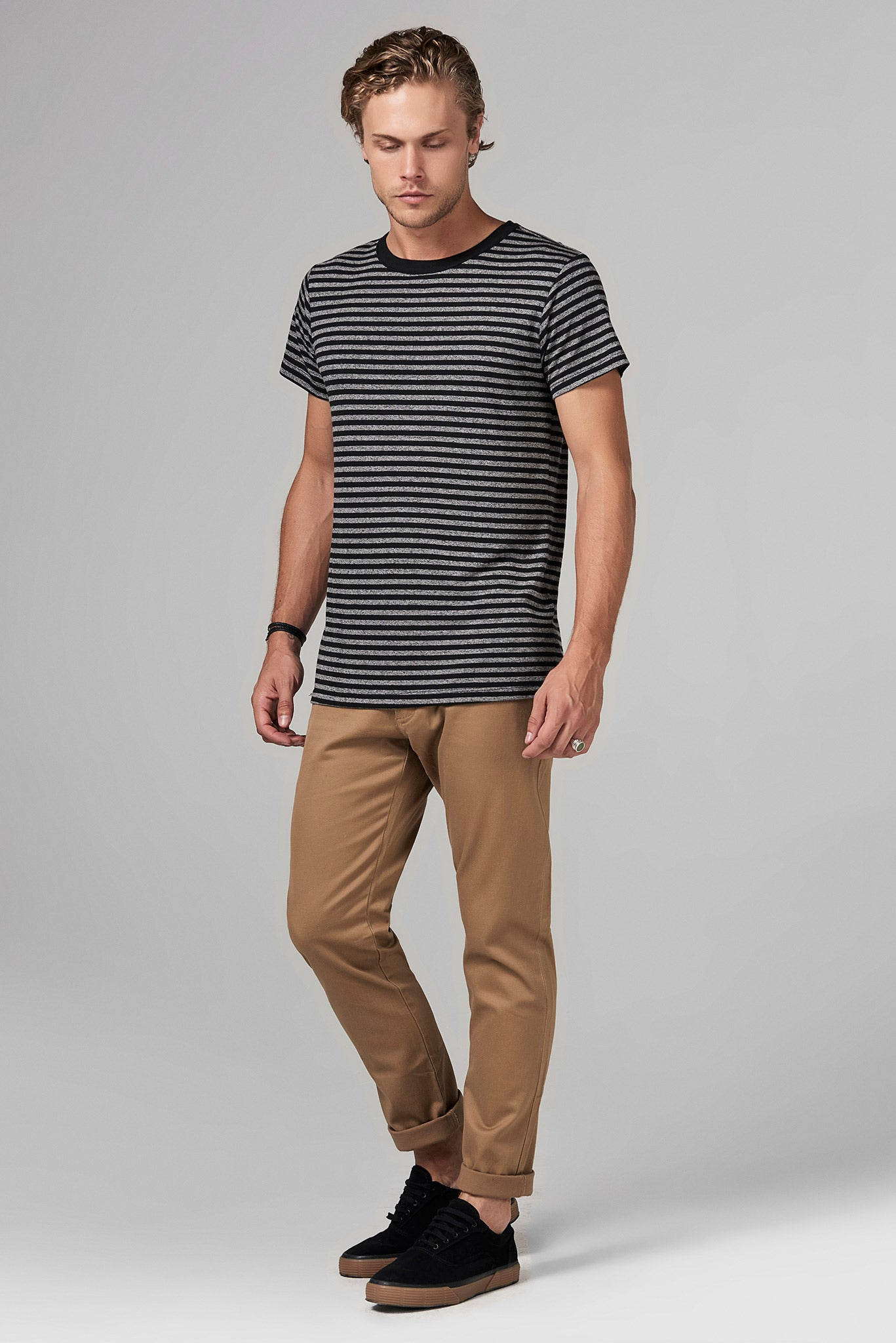 RELAXED CREW NECK TEE-QUARTER STRIPE