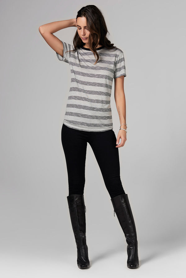 WOMEN'S RELAXED CREW NECK TEE - RETRO STRIPE