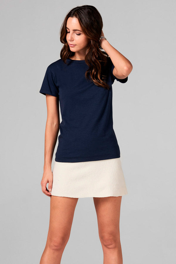 WOMEN'S SLUB CREW NECK TEE - NAVY