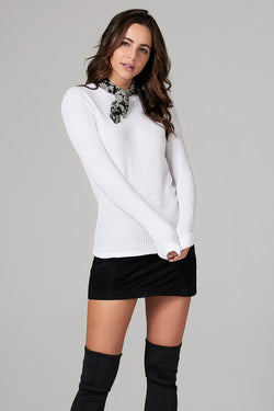 WOMEN'S WAFFLE THERMAL SWEATER PULLOVER - WHITE