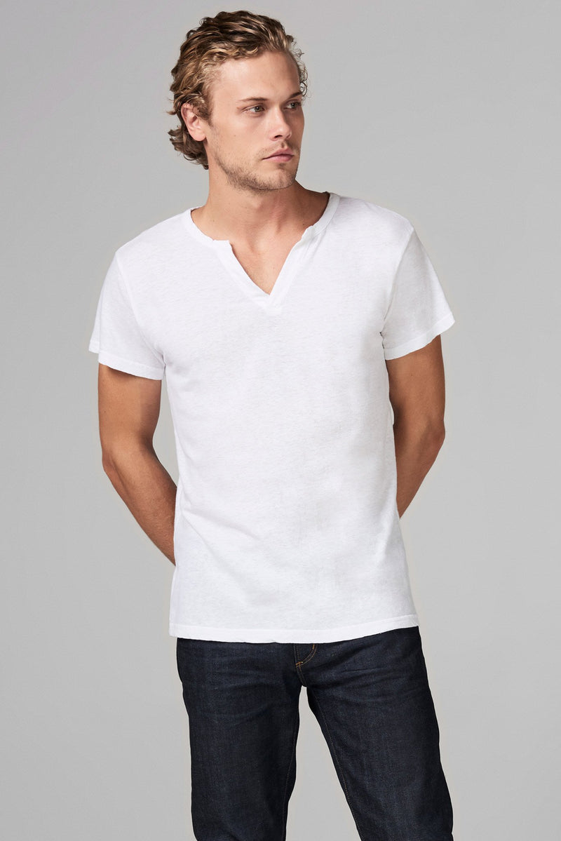 Men's Linen Blend Cross V-Neck Tee