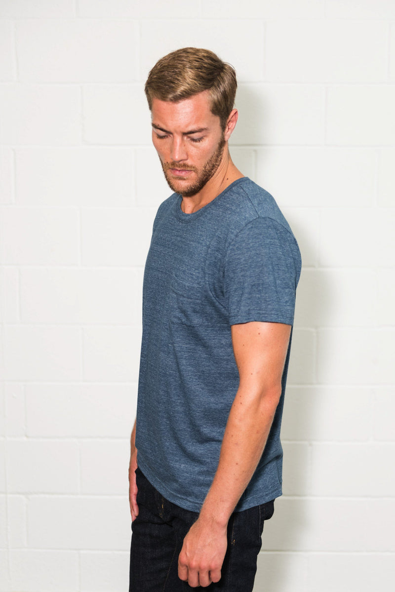 Men's Jersey Crew Neck Curved Pocket Tee