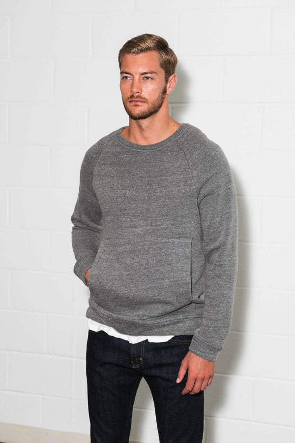 Men's French Terry Kangaroo Pocket Crew Neck Sweatshirt