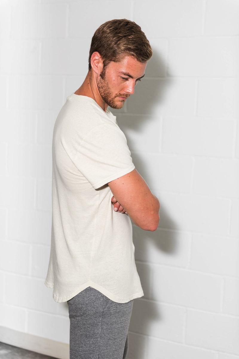 Men's Linen Blend Curved Bottom Crew Neck Tee