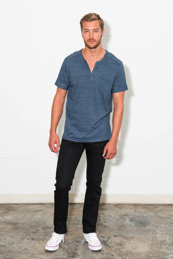 Men's Jersey Raw Neck Curved Pocket Tee