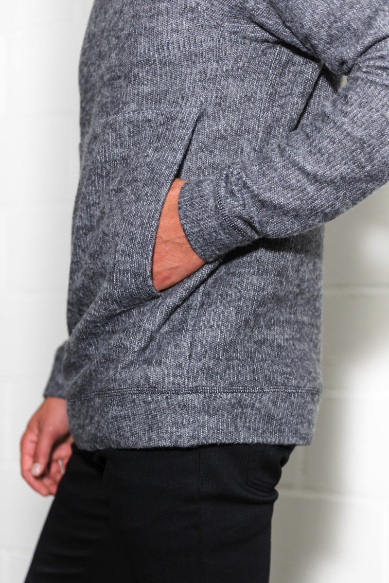 Men's Soft Knit Melange Kangaroo Pocket Pullover Sweater