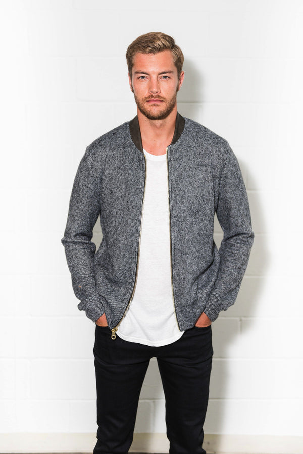 Men's Soft Knit Melange Bomber Jacket