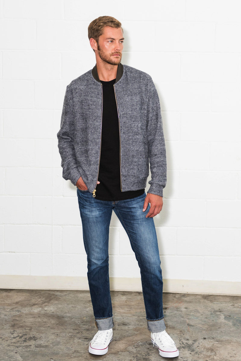 Men's Melange Knit Bomber Jacket