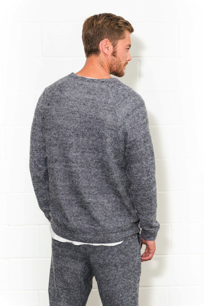 Men's Melange Kangaroo Pocket Crew Neck Sweatshirt