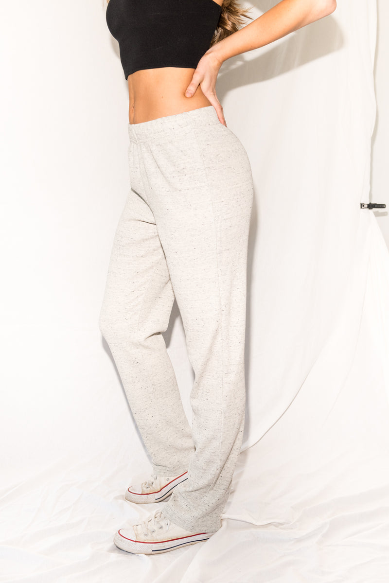 WOMEN'S NOVELTY TEXTURE LOUNGE PANT - CREAM THERMAL