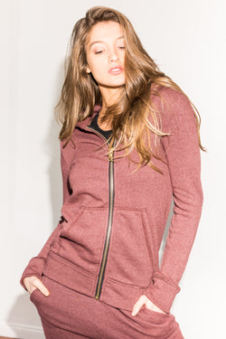 WOMEN'S FRENCH TERRY ZIP FRONT HOODIE - MAROON