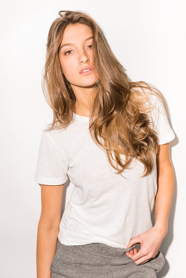 WOMEN'S LINEN BLEND WIDE NECK TEE - WHITE