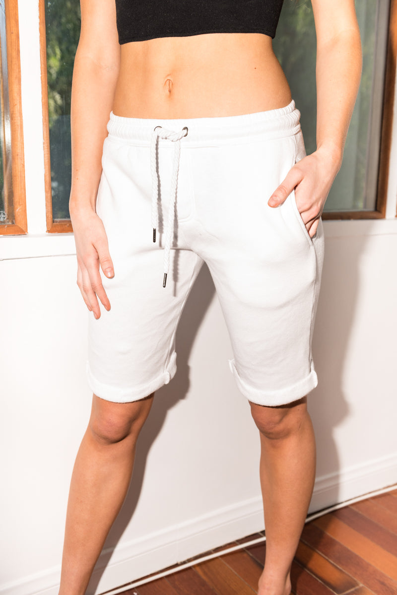 WOMEN'S FRENCH TERRY SHORT - WHITE