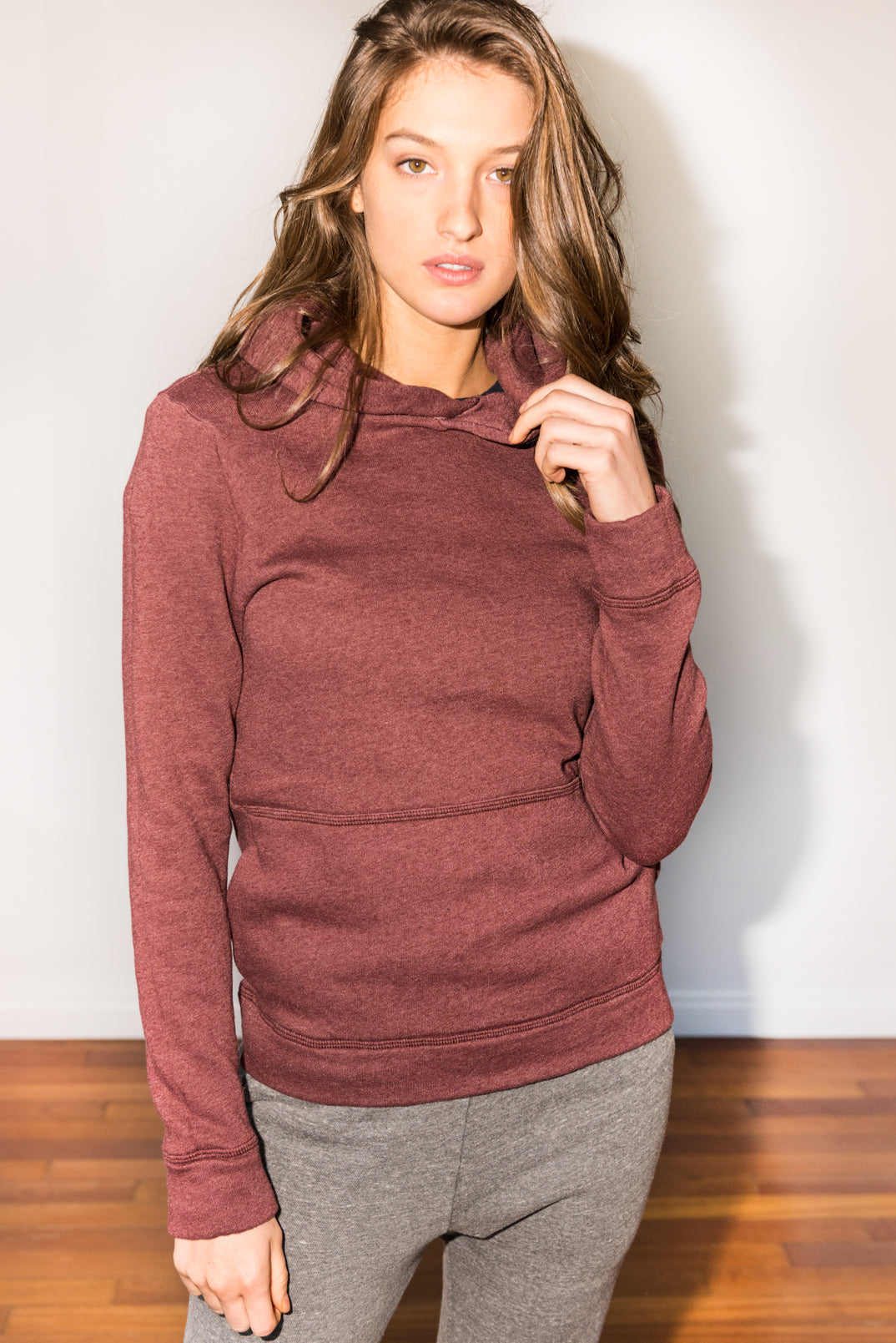 WOMEN'S FRENCH TERRY PULLOVER HOODIE - MAROON