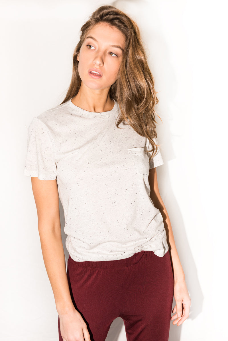 Women's Jersey Crew Neck Curved Pocket Tee - Multi-Dot