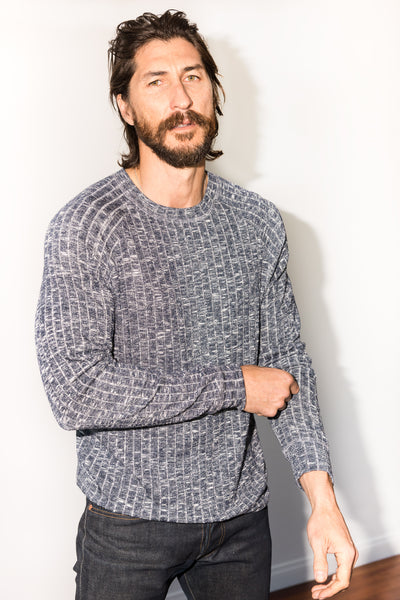 MEN'S MELANGE SWEATER PULLOVER - NAVY